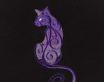 Embroidered dark cats full-zip hoodie