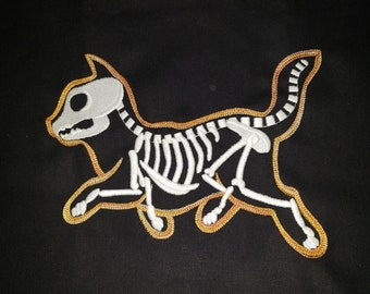 Embroidered Skelekitty Canvass Shopping Bag GLOW In The DARK!