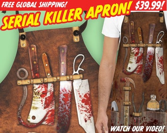 SERIAL KILLER APRON - Free Global Shipping! See video!