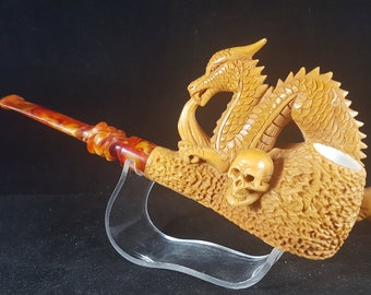 Hand-Carved Pipe The Best Quality Meerschaum Pipe Smooth Pipe Block Meerschaum Meeschaum Pipe \u6d77\u6ce1\u77f3 Hand-Made Pipe Meerschaum-Pfeifen