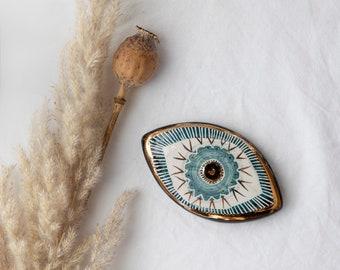 Set of 2 - Mini Size Handmade Ceramic Eyes / Wall Hanging