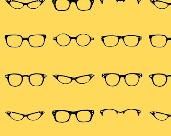 66eba2ddc8 Riley Blake 100% Cotton Fabric Geekly Chic Glasses Yellow  sold per FQ   C512-02YELLOW