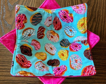 Frosted Donuts Microwave Bowl Cozy, Reversible Quilted Cotton Bowl Holder Potholder, Donut Decor Kitchen, unique gift teacher hostess friend