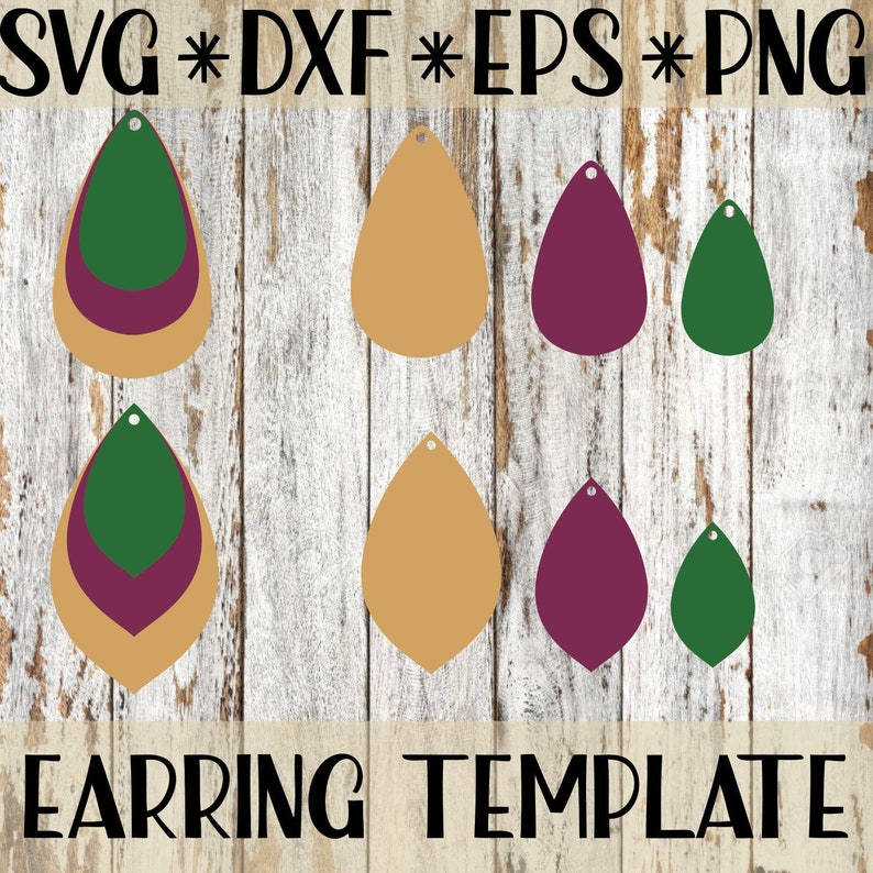 Tear Drop Earring Svg Cut Files For Faux Leather Cricut And Etsy
