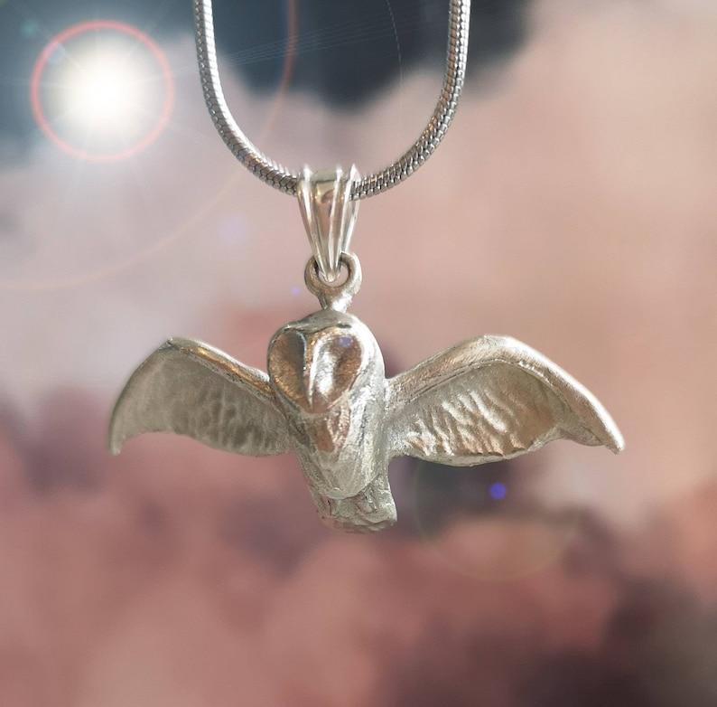 barn owl necklace owl gift silver owl owl pendant owl jewellery owl jewelry owl necklace owl Sterling Silver flying owl pendant