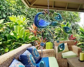 Beautiful Peacock Glass Wind Chimes Hand Cut,Made Garden Patio Decor Unique,Hanging Decor Sun Catcher,Peacock Decor,Peacock Patio Decor