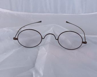 d381584de08 Antique wire rim glasses 1800 s civil war clear lenses oval Ben Franklin  Vintage