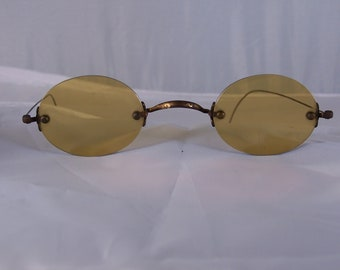 9f44b8beca18 Antique Civil War Era Spectacles - Amber- Wire Frame - John Lennon Style 1800s  Vintage