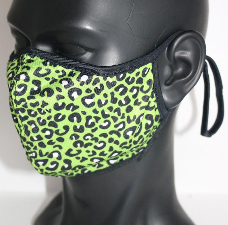 Neon Green Animal Print face mask Custom leopard tiger ...