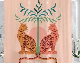 Leopards Shower Curtain for Bathroom, Waterproof Washable 71X71in, Pink Leopards Animal Housewarming Gift, Boho Chic Shower Curtain Gift
