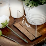 Sleek Acrylic Wedding Table Numbers // Wooden Table Number // Acrylic Table Number // Free Standing // Etched and Painted Table Number