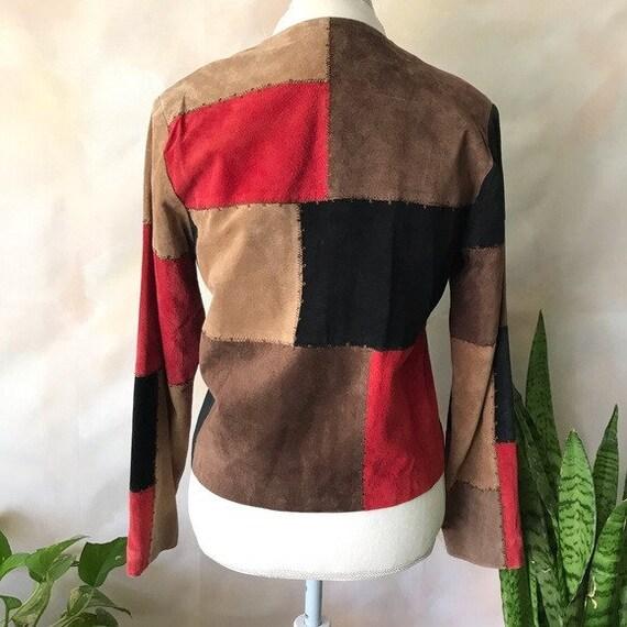VTG Karen Arnold Color Block Leather Blazer Jacket - image 4