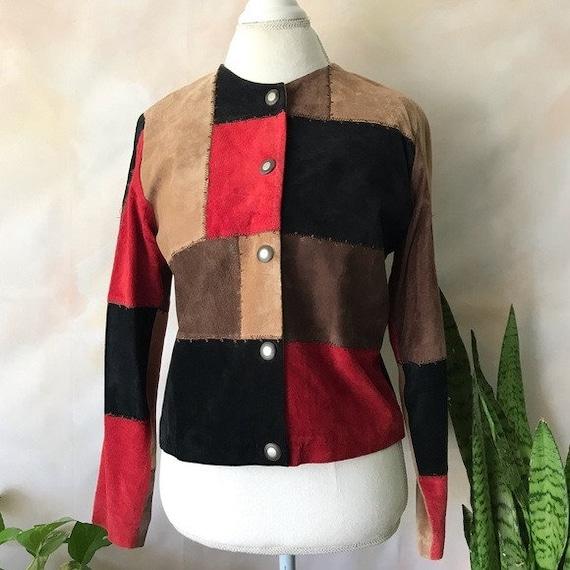 VTG Karen Arnold Color Block Leather Blazer Jacket - image 6