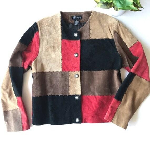 VTG Karen Arnold Color Block Leather Blazer Jacket - image 7