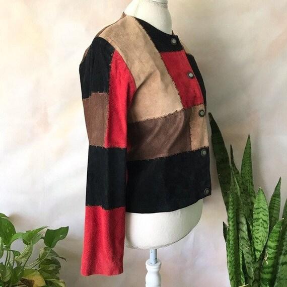 VTG Karen Arnold Color Block Leather Blazer Jacket - image 5