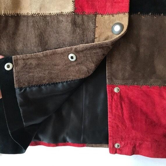 VTG Karen Arnold Color Block Leather Blazer Jacket - image 10