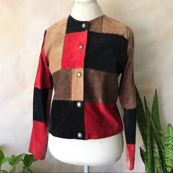 VTG Karen Arnold Color Block Leather Blazer Jacket - image 1