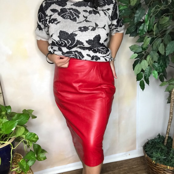 Vintage Ellen Tracy Red Leather Pencil Skirt