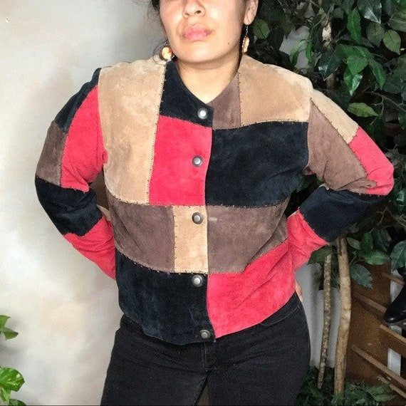 VTG Karen Arnold Color Block Leather Blazer Jacket - image 2