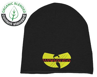 d48db14e373 Embroidered Wakanda Wu Tang Black Pather Unisex Beanie Hat Cap Organic  Cotton