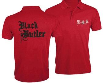d1ef3aceb5f1 Brodé de Black Butler Anime Logo Japan Style chemise Polo T-shirts Top T- shirt