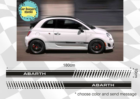 2 X Fiat Abarth 500 Black Red Bands Stickers Car Body Door Decal Vinyl Stripes Car Accessories Vinyl Decal Stickers For Fiat Truck Vinyl