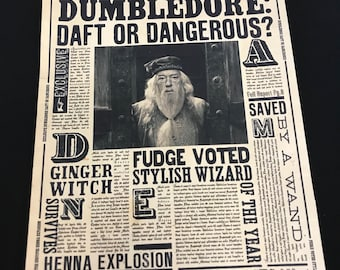 One Sided Wizard Newspaper !! 16 1/2 by 10 1/2 inches!! Party Prop