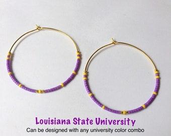 Purple and Gold LA Huggie LSU Koozie