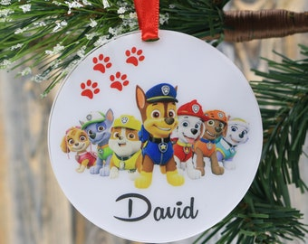 personalized christmas ornaments paw patrol ornament toy family name ornament wedding gift uv print birthday gift