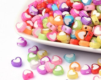 100 x Acrylic Beads Heart Colorful 7 x 8 mm