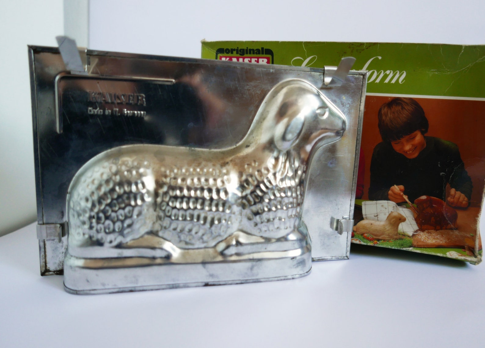Vintage German lamb cake mold for Easter baking with recipe, Kaiser mold