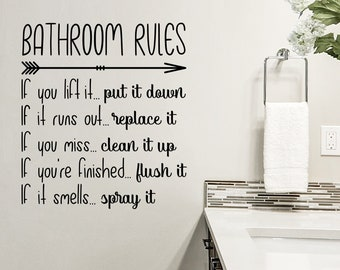 Bathroom Rules Etsy