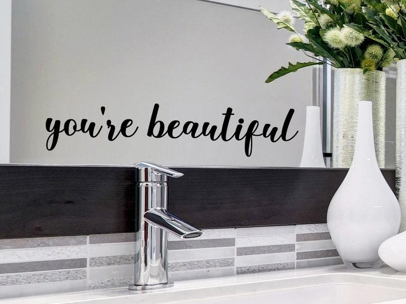 Wall Sticker Bathroom Wall Art Vinyl Decal Wall Art Serenity Mirror Sticker Mirror Decal Wall Decal Bathroom Wall Decal