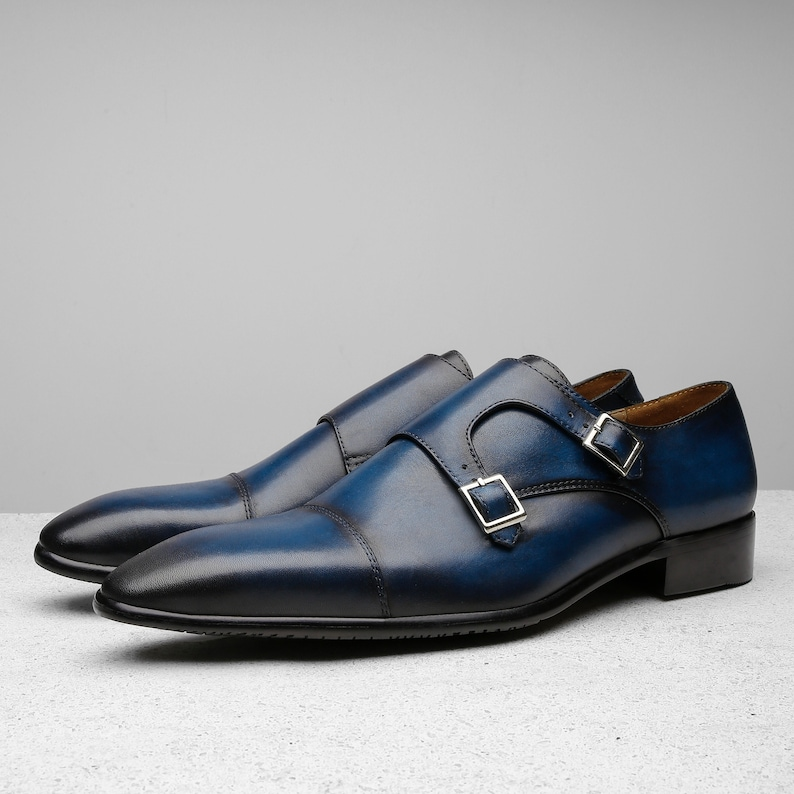 new high fashion style of 2019 pre order Handcrafted shoes, bespoke handmade shoes, Navy Monk strap oxford mens  dress shoes