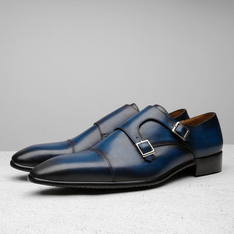 3ac78b418a601 Handcrafted shoes, bespoke handmade shoes, Navy Monk strap oxford mens  dress shoes