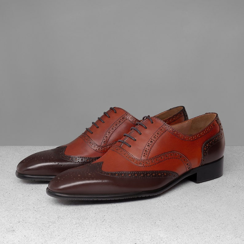 Men's Oxford Dress Shoes, Handmade shoes, Mix Brown custom made leather shoes