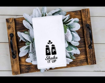 Gym Themed Shaker Cup Kitchen Towel Let/'s Shake Things Up Tea Towel