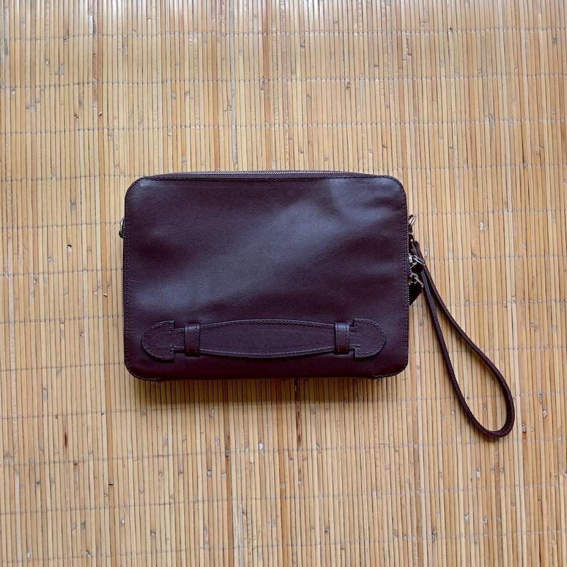 Dark Brown Calfskin Leather Sling Bag Leather Handbag Dark Brown Leather Clutch Leather Wristlet Leather Crossbody Bag Leather Clutch