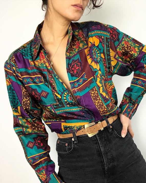 Vintage 100% silk paper thin printed blouse