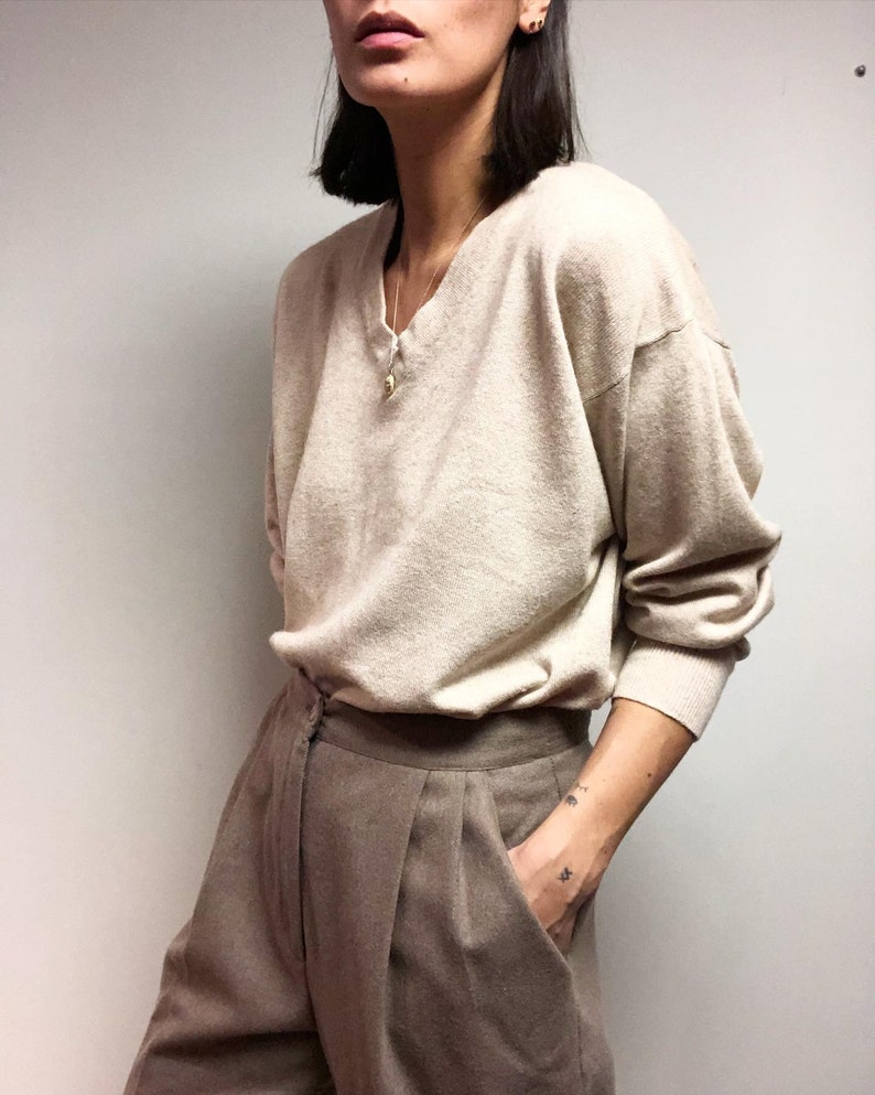 Vintage silk & cashmere blend oatmeal pullover sweater image 0