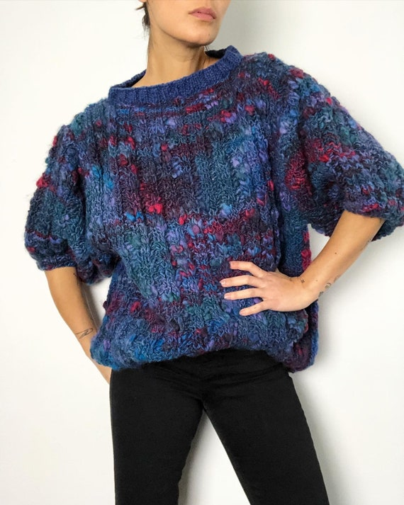 Vintage super chunky textured puff Sleeve sweater