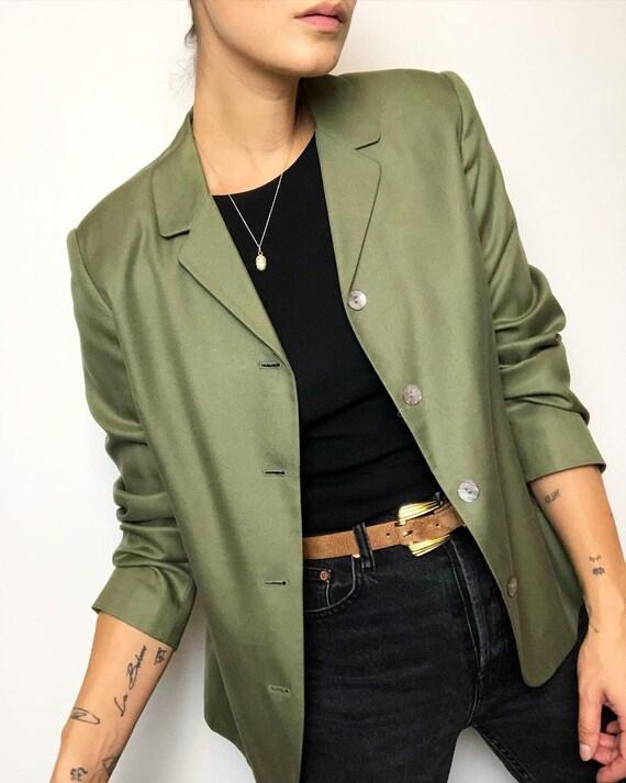 Vintage 100% silk matcha minimalist blazer