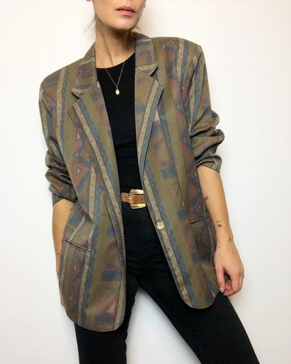Vintage viscose blend printed oversize blazer