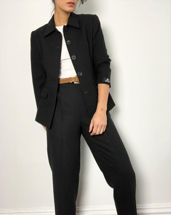 Vintage 100% wool black 2pc suit set