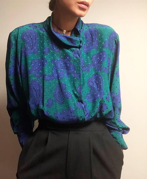 Vintage 100% silk paisley blouse