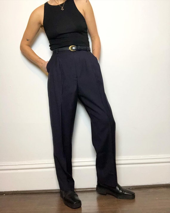 Vintage 100% wool navy high rise trouser