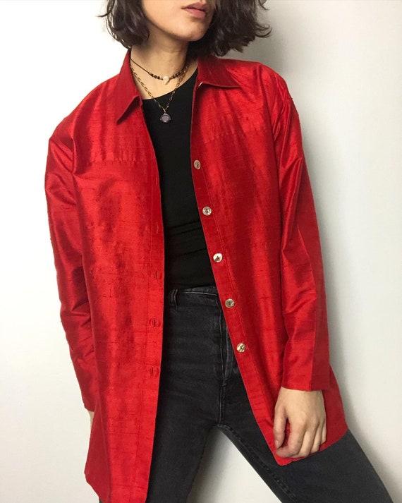 Vintage 100% raw silk oversized shirt