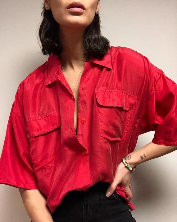 Vintage 100% silk paper thin safari blouse