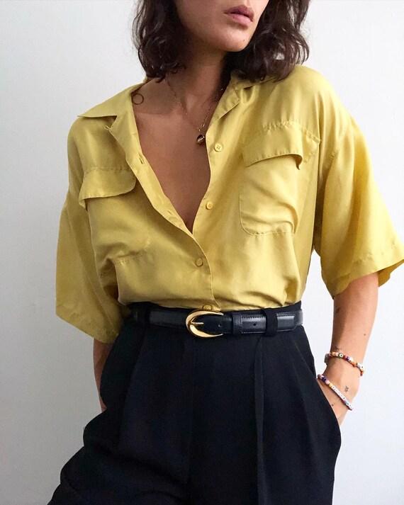 Vintage 100% silk paper thin lemon lime blouse