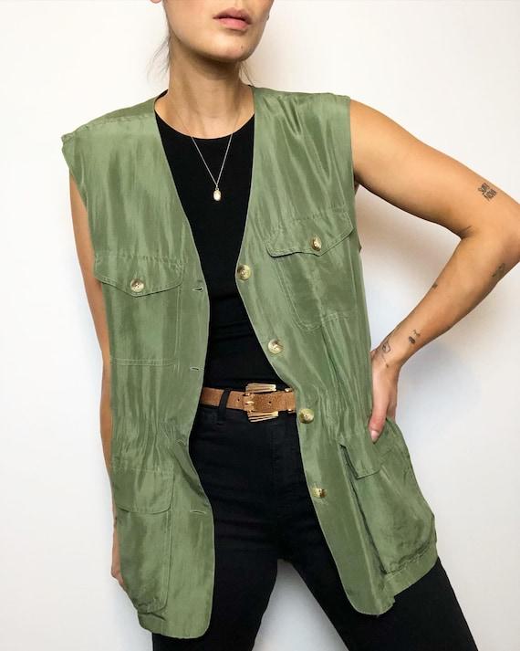 Vintage 100% silk matcha safari vest